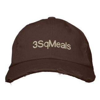 3sqmeals Brown Distressed Chino Twill Cap Embroidered Hat