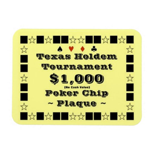 3x4 Texas Holdem Poker Chip Plaque $1000 Rectangular Magnets