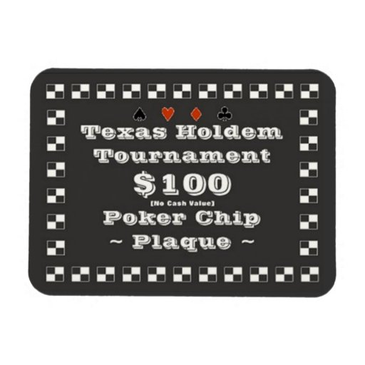 3x4 Texas Holdem Poker Chip Plaque $100 Flexible Magnet