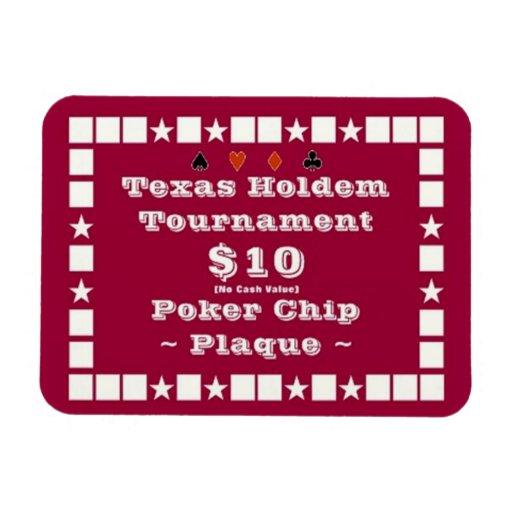 3x4 Texas Holdem Poker Chip Plaque $10 Rectangular Magnet