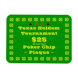 3x4 Texas Holdem Poker Chip Plaque 25 Magnets