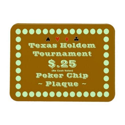 3x4 Texas Holdem Poker Chip Plaque $.25 Flexible Magnets