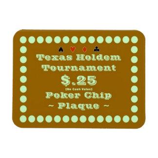 3x4 Texas Holdem Poker Chip Plaque $.25 Rectangular Photo Magnet