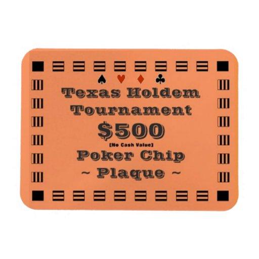3x4 Texas Holdem Poker Chip Plaque $500 Vinyl Magnet