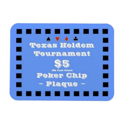 3x4 Texas Holdem Poker Chip Plaque $5 Vinyl Magnets