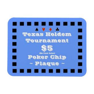 3x4 Texas Holdem Poker Chip Plaque $5 Rectangular Photo Magnet