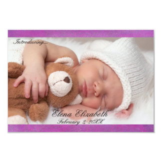 3x5 Beautiful Purple Newborn Girl Announcement