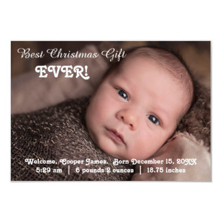 3x5 Birth Announcement Best Christmas Gift Ever