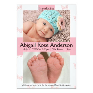 3x5 Butterfly Girl Pink Birth Announcement