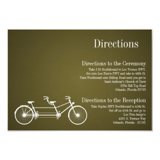 3x5 Directions Card Whimsical Brown Double Bike 9 Cm X 13 Cm Invitation Card