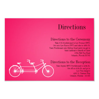 3x5 Directions Card Whimsical Hot Pink Double Bike 9 Cm X 13 Cm Invitation Card