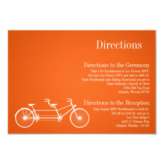 3x5 Directions Card Whimsical Orange Double Bike 9 Cm X 13 Cm Invitation Card