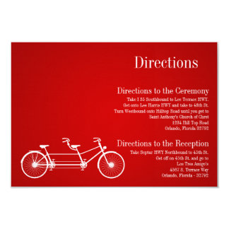 3x5 Directions Card Whimsical Red Double Bike 9 Cm X 13 Cm Invitation Card