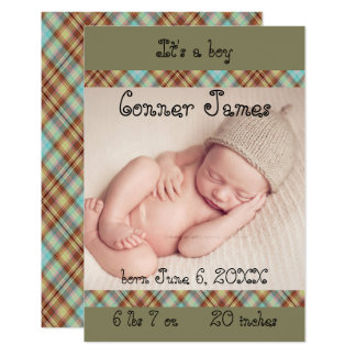 3x5 Newborn Baby Boy Plaid Announcement Simple