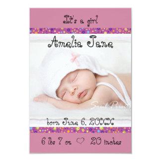 3x5 Purple Newborn Baby Girl Announcement
