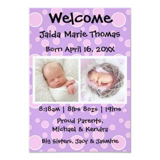 3x5 Purple w/Pink Dots & Photos Birth Announcement