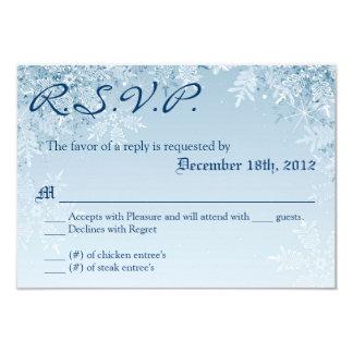 3x5 R.S.V.P. Reply Card Crystal Snowflakes Winter 9 Cm X 13 Cm Invitation Card