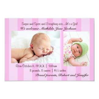 3x5 Sugar and Spice Baby Girl Birth Announcement