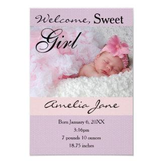 3x5Beautiful Purple Pink Newborn Girl Announcement