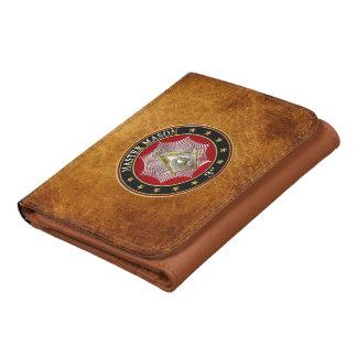 [400] Master Mason - 3rd Degree Square & Compasses Leather Tri-fold Wallet