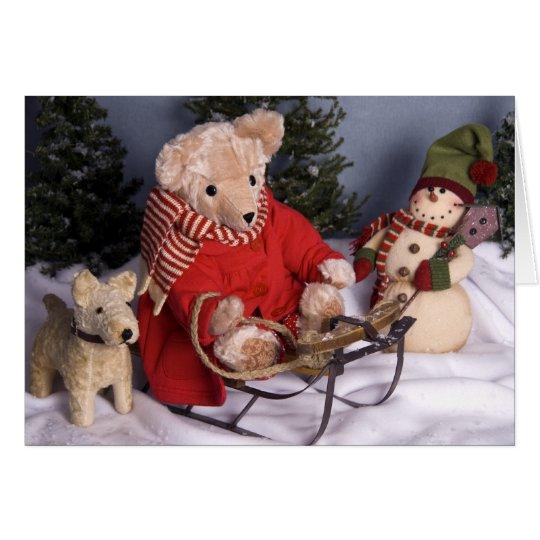 4019 Sledding Teddy Bear & Friends Birthday Card