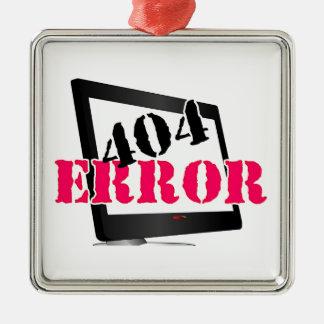 404 Error Silver-Colored Square Decoration