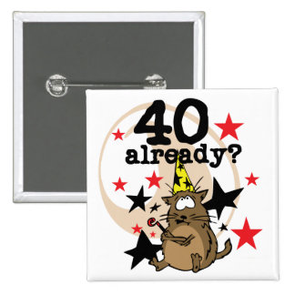 40 Already Birthday 15 Cm Square Badge