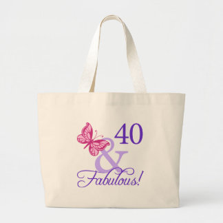 40 And Fabulous Birthday Large Tote Bag