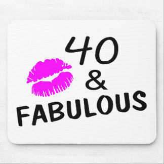 40 and Fabulous (Black and Pink) Mouse Mat