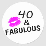 40 and Fabulous (Black and Pink) Classic Round Sticker