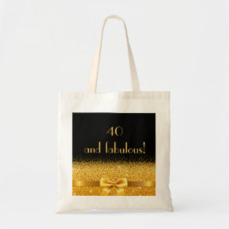 40 and fabulous elegant golden bow on black tote