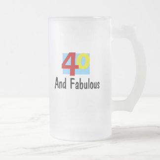 40 and Fabulous Frosted Glass Beer Mug