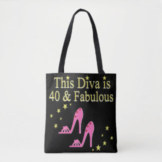 40 AND FABULOUS PINK SHOE QUEEN DESIGN TOTE BAG