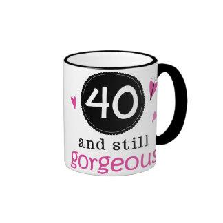 40 And Still Gorgeous Birthday Gift Idea For Her Ringer Mug