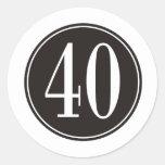 #40 Black Circle Round Sticker