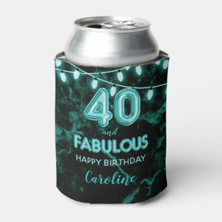 40 & Fabulous Birthday Teal Black Balloon Lights Can Cooler