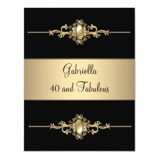 40 & Fabulous Black Coffee Trim Birthday Party 11 Cm X 14 Cm Invitation Card
