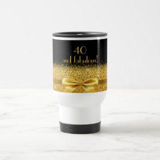 40 fabulous elegant golden bow on black travel mug