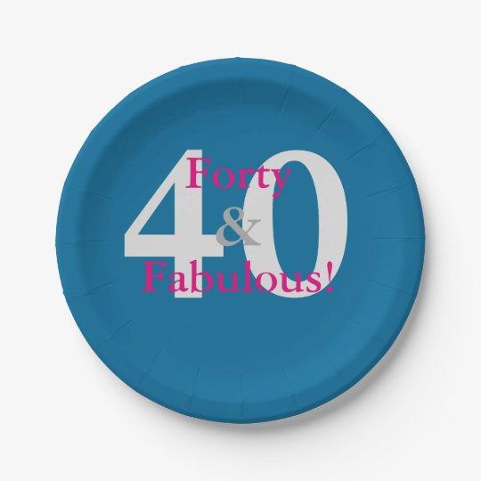 40 & Fabulous! Fun Custom Birthday Blue & Hot Pink Paper Plate