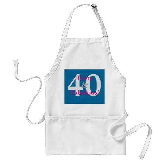 40 & Fabulous! Fun Custom Birthday Blue & Hot Pink Standard Apron