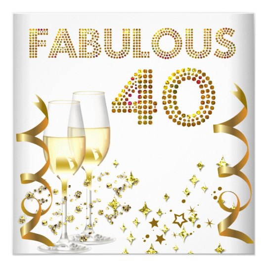 40 Fabulous Gold Champagne 40th Birthday Party Card