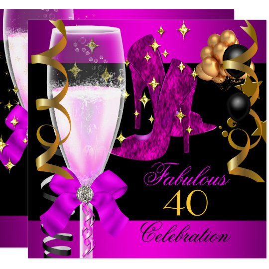 40 Fabulous Pink Purple Gold 40th Birthday Party Invitation