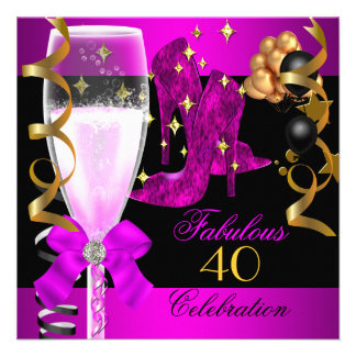 40 Fabulous Pink Purple Gold 40th Birthday Party Custom Announcement