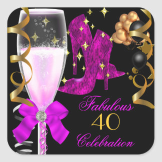 40 Fabulous Pink Purple Gold Birthday Shoes Square Sticker