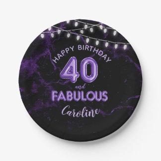 40 & Fabulous Purple Foil Balloons & String Lights Paper Plate