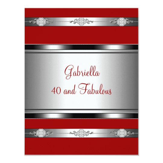 40 & Fabulous Red Silver Jewel Trim Birthday Party Card