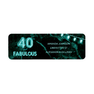 40 & Fabulous Teal & Black 40th Birthday