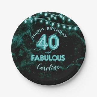 40 & Fabulous Teal Foil Balloons & String Lights Paper Plate