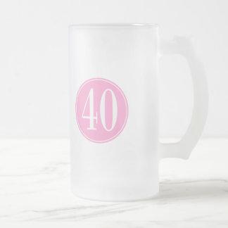 #40 Pink Circle Frosted Glass Mug