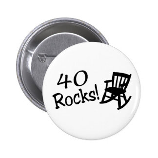 40 Rocks (Black Rocking Chair) 6 Cm Round Badge